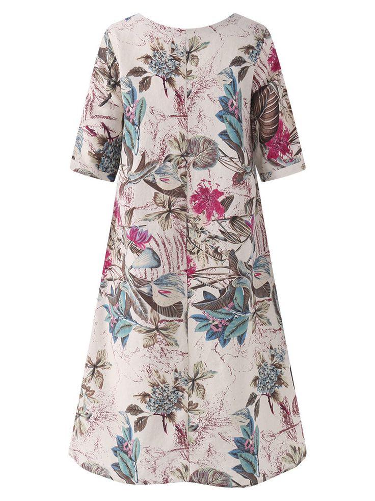 Hot saleWomen Floral Printed Short Sleeve Vintage Dresses Cheap - NewChic