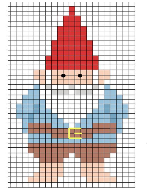 Gnome counted cross stitch pattern