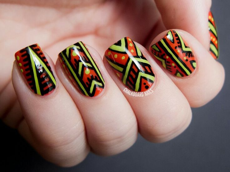 Chalkboard Nails: African Patterned - Nicole by OPI Tink Nail Art - 94 Best African Inspired Nails Images On Pinterest Africans