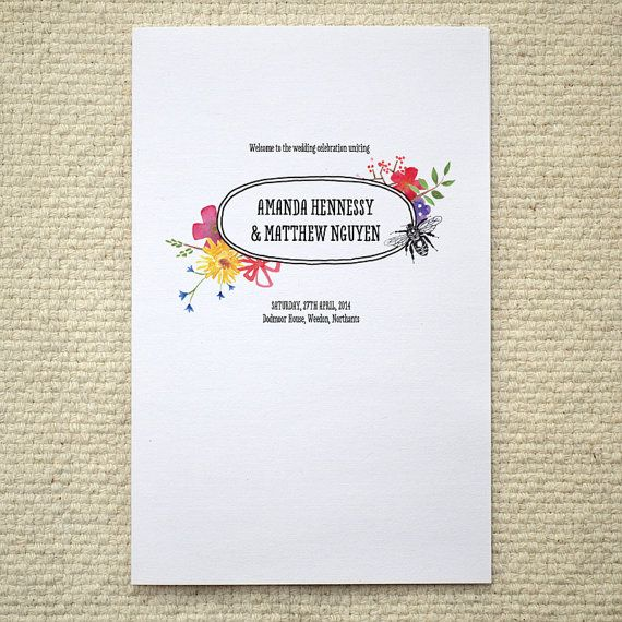 Watercolor Garden Wedding Program