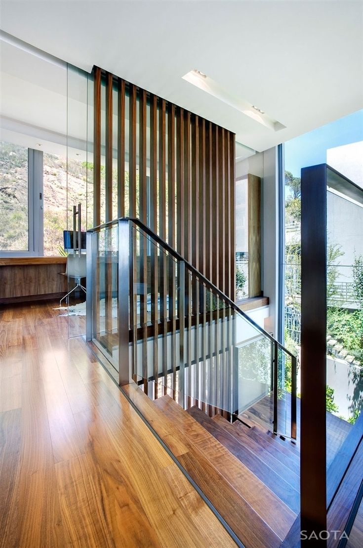 Architecture Appealing Head Road 1816 House Project By SAOTA Featuring Interior Design With Parquet Floor Wooden Staircase Glass Railing And Steel