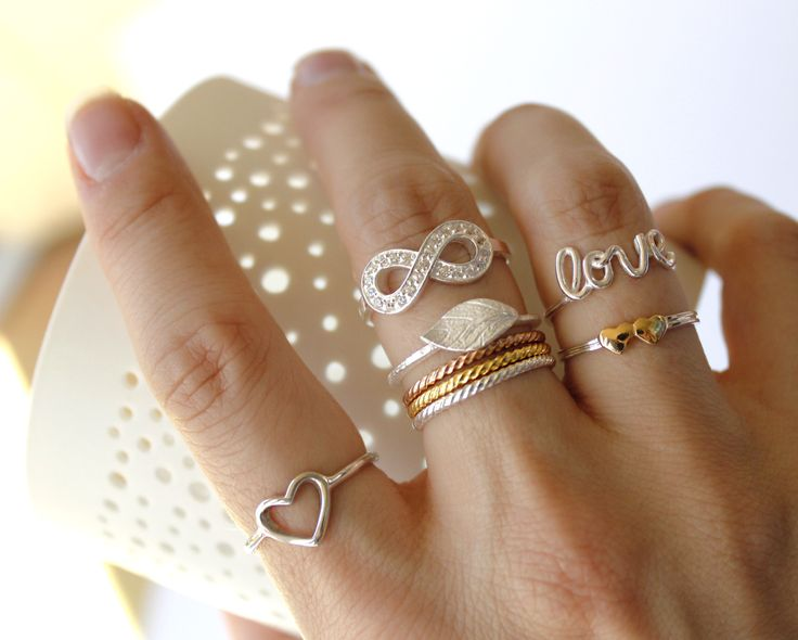 Sterling silver (with gold plate) rings.