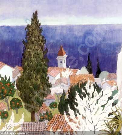 Ferdinand Finne (1910 – 1999): Roquebrune, watercolor