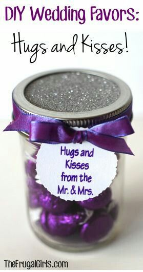DIY Wedding Favors - chocolate kisses. I would want these in silver wrappers with glitter fabric to wrap