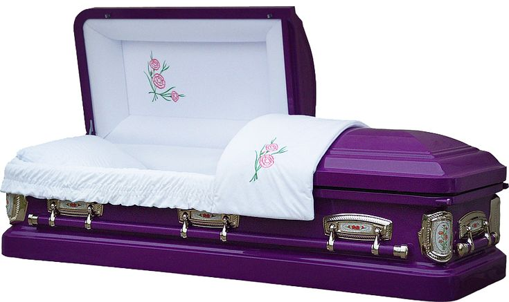 8387 - Carnation Casket 18ga<br>White Velvet, Actual Barney Purple color $1095.00