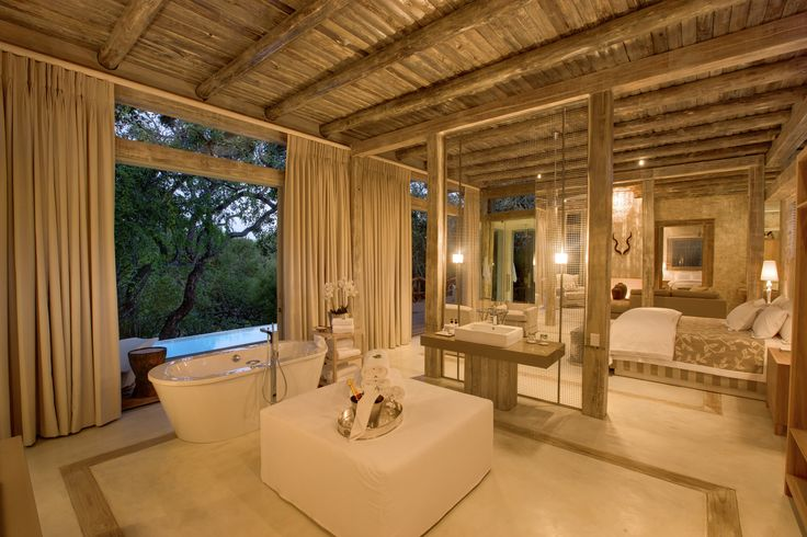 A gorgeous site at Kapama Karula on the banks of Klaserie River. #Master #Bathroom #Luxury #Opulence   www.mtbeds.co.za