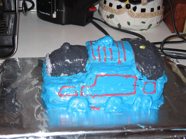 Thomas the Tank Engine cake. He was so little then...