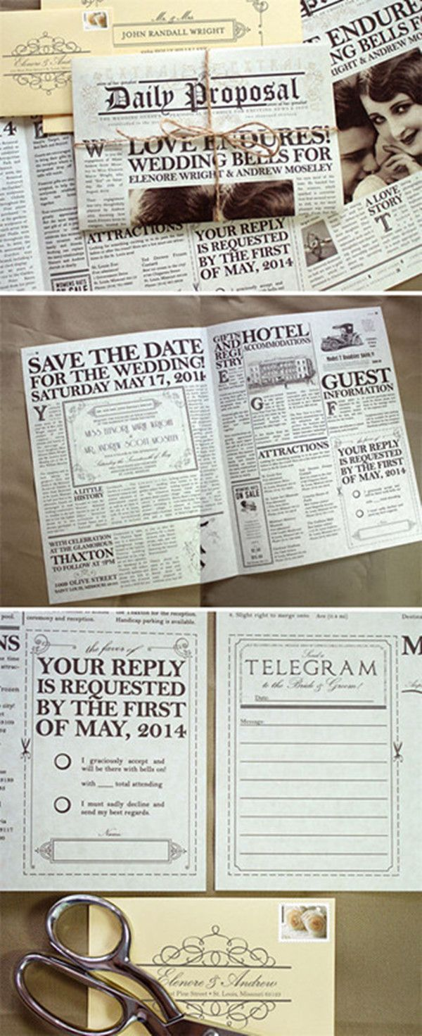 Creative vintage newspaper wedding invitations