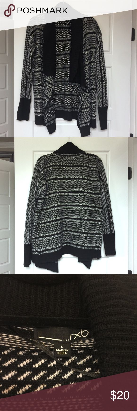 Striped Black and White Cardigan Sweater Striped Black and White Cardigan Sweater in great condition. Flowy, open front silhouette. Has a couple of pulls that can be easily tucked back in but are definitely not noticeable. RXB Sweaters Cardigans