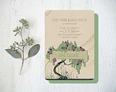 Pink and Green Vintage Wedding Invitations or Save the Dates  - Art Deco Tree