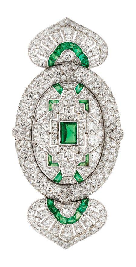 Art Deco Diamond, Emerald, Platinum Brooch, Lacloche Frères The brooch marked Lacloche, Paris.