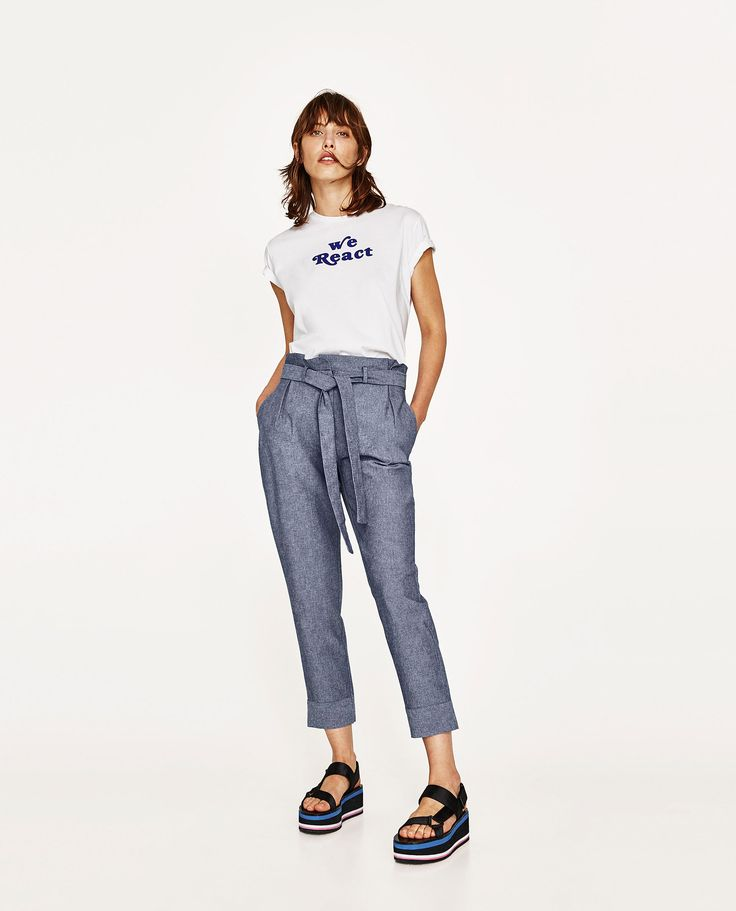 Image 1 of CHAMBRAY TROUSERS from Zara