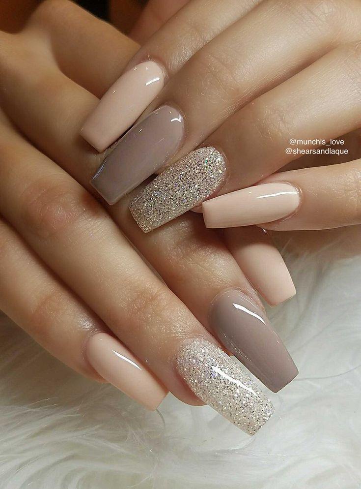 neutral nail design #acrylicnails #coffinnails #ba…