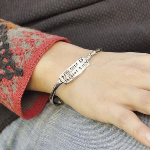 """An inspirational quote bangle Inscribed with """"patience is passion tamed""""  #bangle #bangles #jewelry #cowgirljewelry #bohojewelry #bohemianjewelry #gypsyjewelry #bohostyle #cowgirlstyle #westernstyle #gypsystyle #bohochic #cowgirl #countrygirl #cowgirlatheart #countrystyle #nashville #marathonvillage #wordjewelry #inspirationaljewelry #quotejewelry  http://www.islandcowgirl.com"""