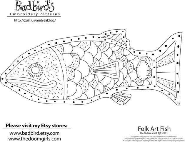 Free Folk Art Fish Embroidery Pattern From Andrea Zuill