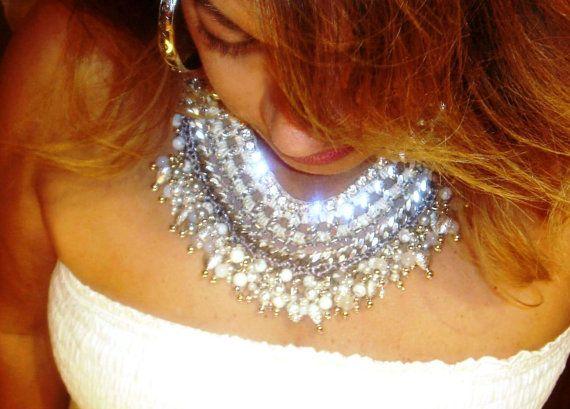 white bohemian fully handmade statement necklace by GoGosJouls