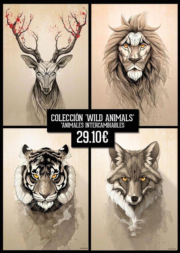 Nueva:Cuatro láminas intercambiables de la colección original 'WILD ANIMALS' a elegir libremente entre las ocho existentes:<ul>  <li>Deer tree</li>  <li>The Lion</li>  <li>Tiger</li>  <li>Red Fox</li>  <li>Wolf</li>  <li>Lynx</li>  <li>Red Panda</li>  <li>Angry Panda</li>  <li>Little Owl</li>  <li>Deer Bull</li></ul>...