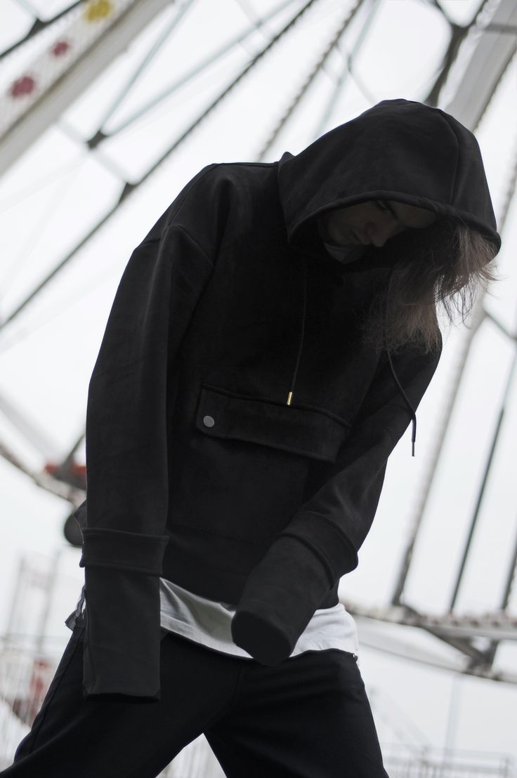 Over the law - wears LUSIF SS1 Suede Hoodie BLVCK