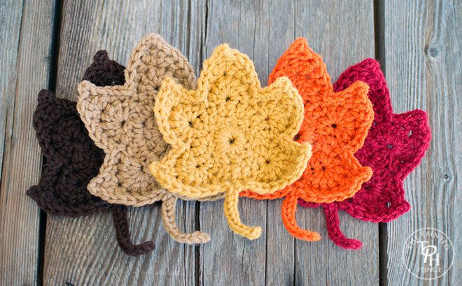 Crochet Fall Leaves Get ready for the fall with these cute fall leaves. This leaf pattern is done with a H hook and any color of yarn. Enjoy this Crochet Fall Leaves Pattern by The Painted Hinge! Click on the Link for the Pattern, if you have any questions, please ask the designer on their site.