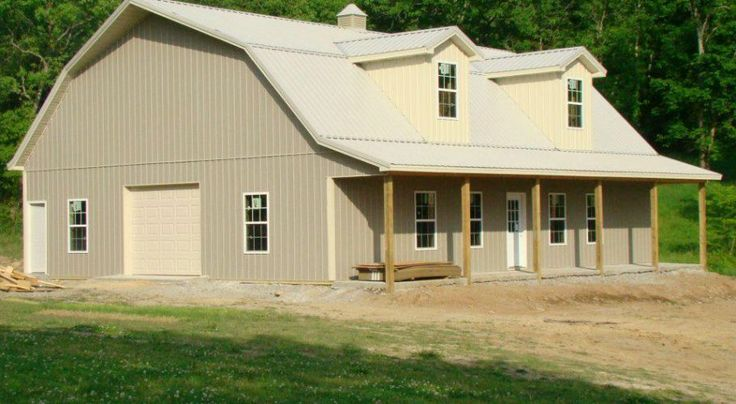 40x50 gambrel barn with loft quonset hut homes steel for Gambrel pole barn plans