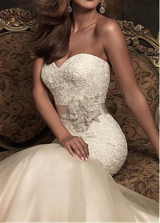 Elegant Exquisite Lace & Satin & Organza Mermaid Sweetheart Wedding Dress