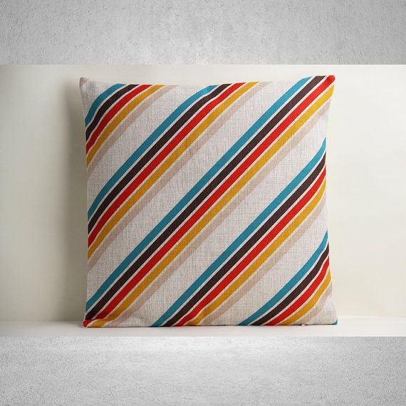 Multicolor Stripe Pillow Cover, Stripe Pillow Cover, Decorative Pillow Cover, Pillow Case, Cushion Cover, Linen Pillow Cover, Throw Pillow