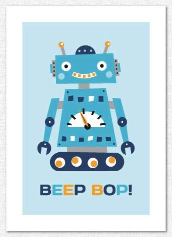 Barntavla med retro robot. Dekoration för barnrum. Barnrumsinredning.