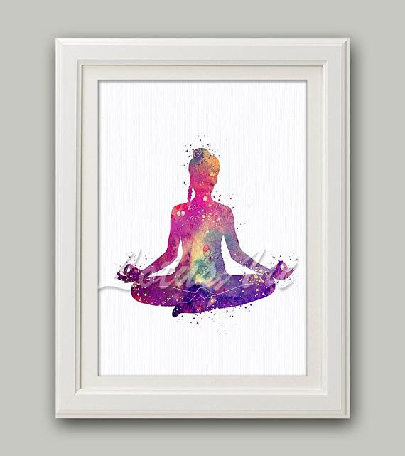 Yoga Pose Lotus Yoga Print Yoga Art Purple Watercolor Yogi Gifts Yoga Studio Art Zen Decor Zen Art Meditation Art Yoga Poster Yoga Gifts Meditation Art Zen Art Yoga Art