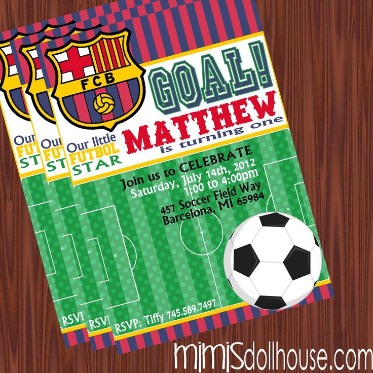 Invitation Display With Images Soccer Birthday Parties Barcelona Soccer Party Soccer Party