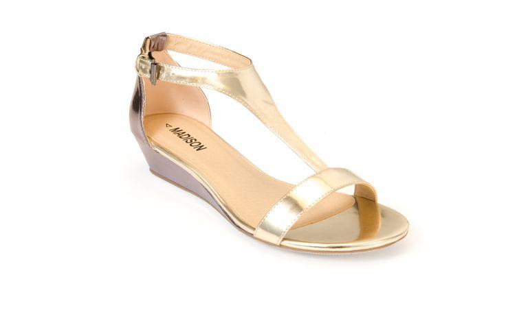 NATASHA Gold/Pewter R355.00 from www.madisonheartofnewyork.com follow us on Twitter @Madison Shoes SA