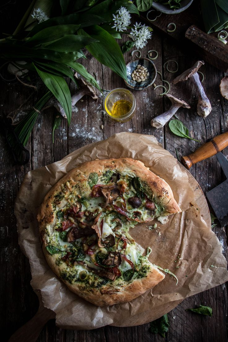 mushroom pancetta and wild garlic pizza with cream cheese | twig studios.