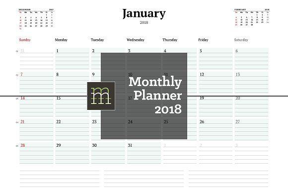 Monthly Planner 2018 (MP13) by mikhailmorosin on @creativemarket