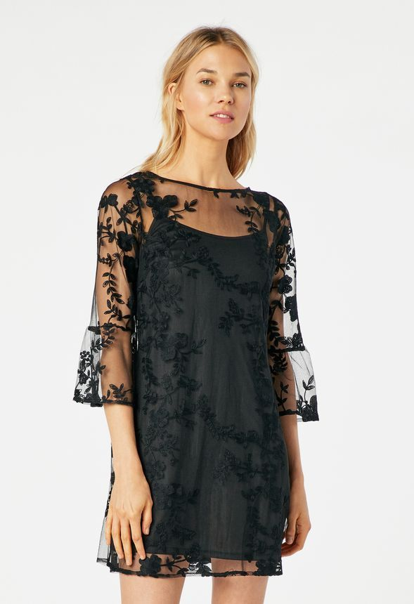 46ebb93d71f Floral Embroidered Dress in Black - Get great deals at JustFab ...