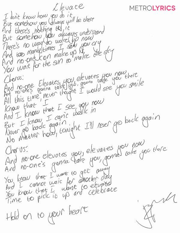 St. Lucia's handwritten lyrics to #Elevate #Metrolyrics #Exclusive