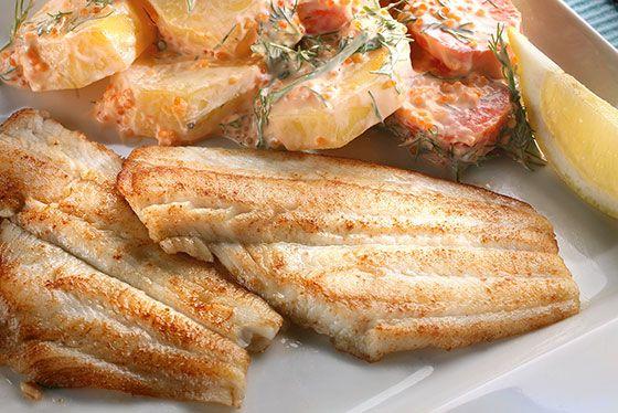 Stekt spätta med potatis och romsås