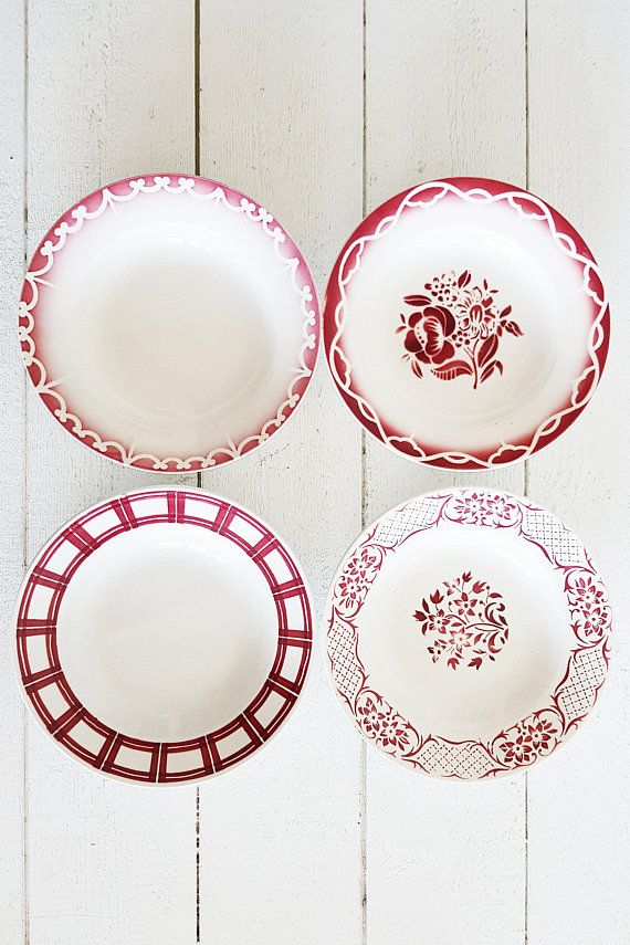 French Plates Farmhouse Dinnerware Set Mismatched Plates Set