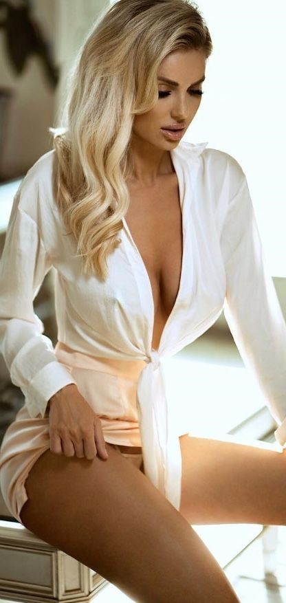 f9d200a2b4 Blonde wearing her sexy short white robe