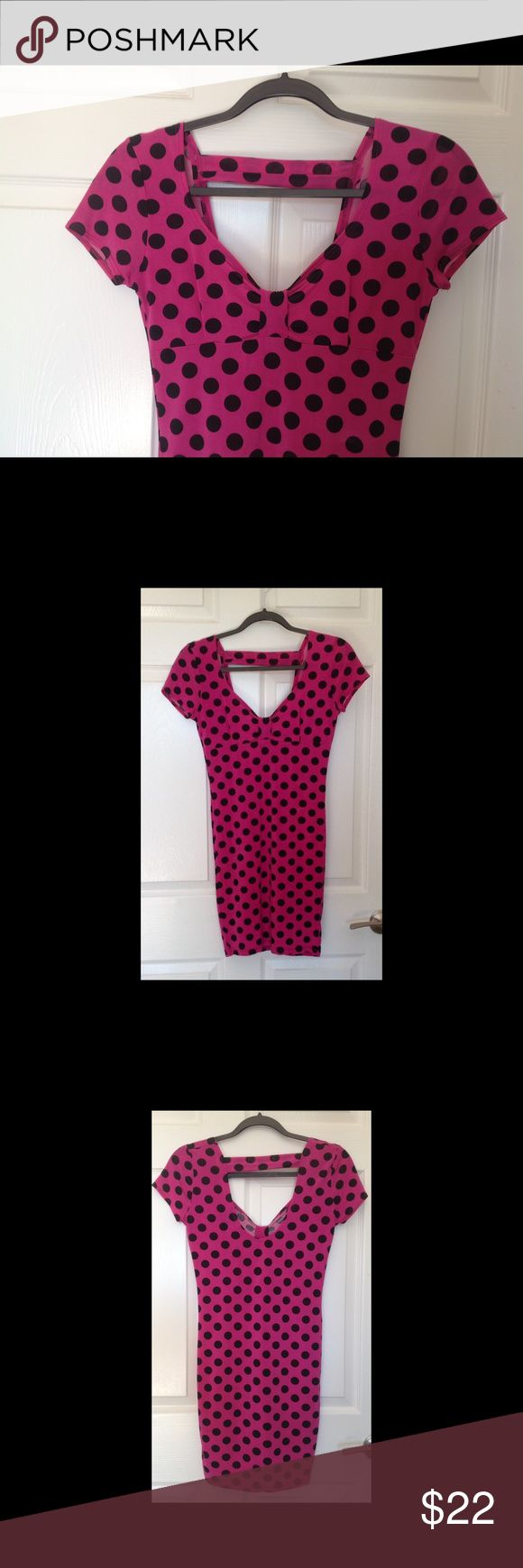 Pink Polka Dot Retro Pinup Bodycon Dress Genuine Demi Loon Polka Dot bodycon short sexy dress.  This dress hugs your curves, and very comfortable.  Has that retro pinup look. Demi Loon Dresses Mini
