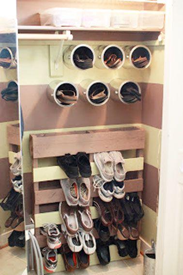 Astuce déco brico pour organiser le rangement des chaussures | Étagère à chaussures diy, Meuble ...