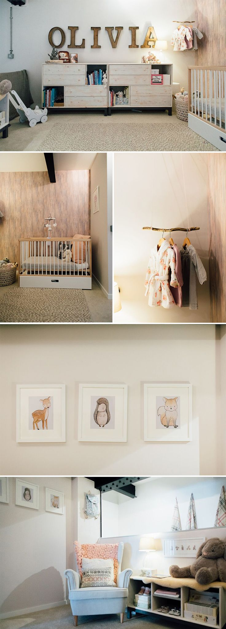 Monochrome and pink nursery in an NYC-style loft apartment
