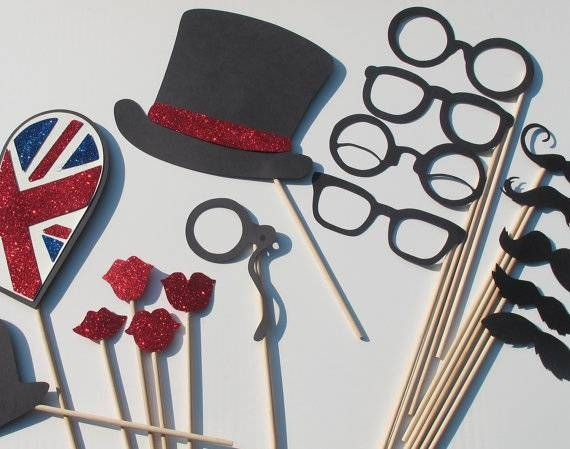 These London-themed photo booth props are great for British-themed weddings. Click through to see where to get them and for other London-themed items on Etsy.