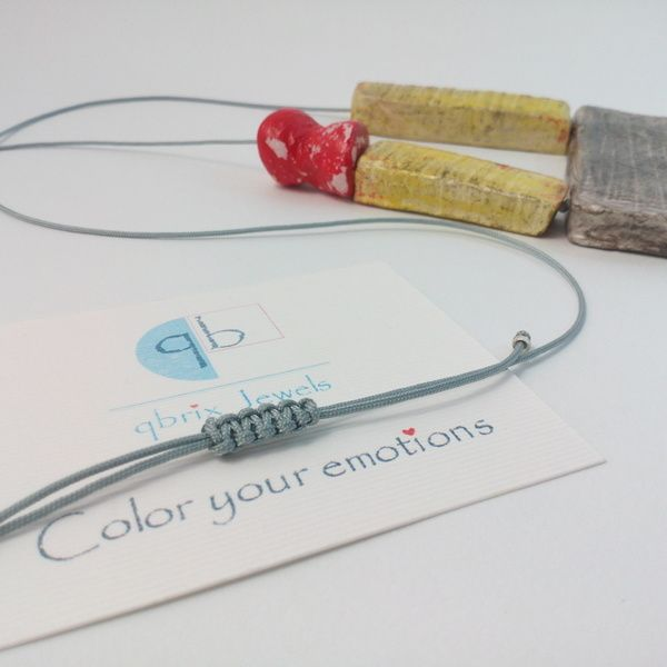 Handmade air drying clay necklace