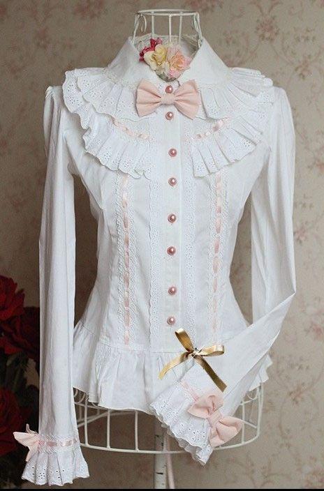 White Long Sleeves Ruffles Lolita Shirt Pink Bows.  $42.00.