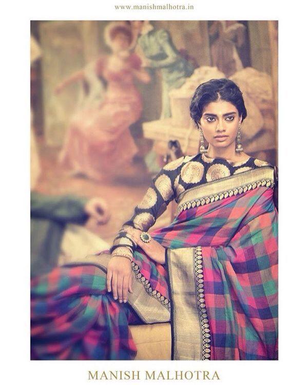 Checked saree with brocade blouse...manish malhotra