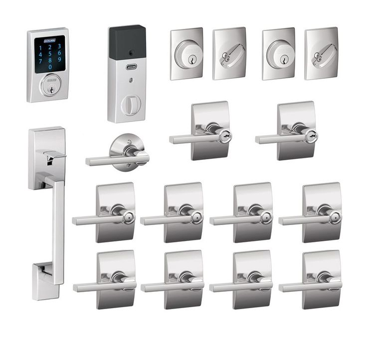 schlage bright chrome century complete house door hardware package with latitude interior levers and connect exterior front