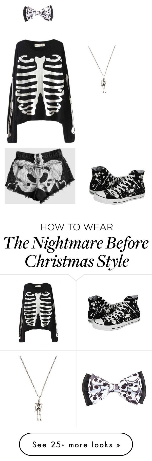 """""""Cute little skeleton"""" by phan-and-bands on Polyvore featuring Yves Saint Laurent and Converse"""