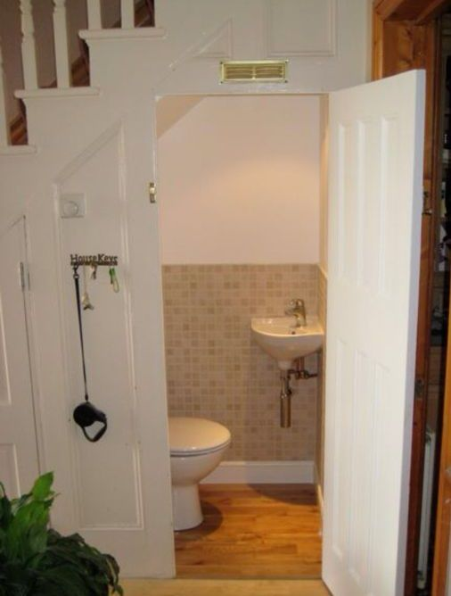 25 best ideas about bathroom under stairs on pinterest for Cost to build a half bath