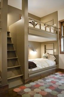 """Per OP, the total wall length is 16' 6"""" (including another stack of beds to left of stairs). Assuming standard Twin-size mattresses, bed berths are approx 6' 5"""" long, walls/posts are likely 2x6 construction (so 6 1/2"""" thick), which would leave around 31"""" for the ladder -- give or take a few inches. Depth of berths is probably around 3' 6"""". Ceiling height appears to be 10 ft."""