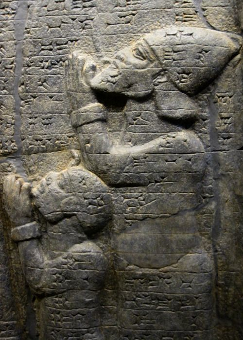 Ushankhuru, the heir to the Egyptian throne, depicted on a replica of King Esarhaddon's Victory Stele. The Assyrian king invaded Ancient Egypt during the rule of Pharaoh Taharqa in 671 BCE, and deported members of the Egyptian nobility to Assyria. The original stele is in Berlin's Pergamon Museum