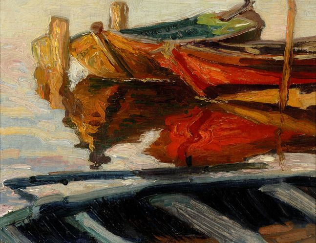 Boats on river Amstel, ca 1908, Leo Gestel. Dutch (1881 - 1941) Via